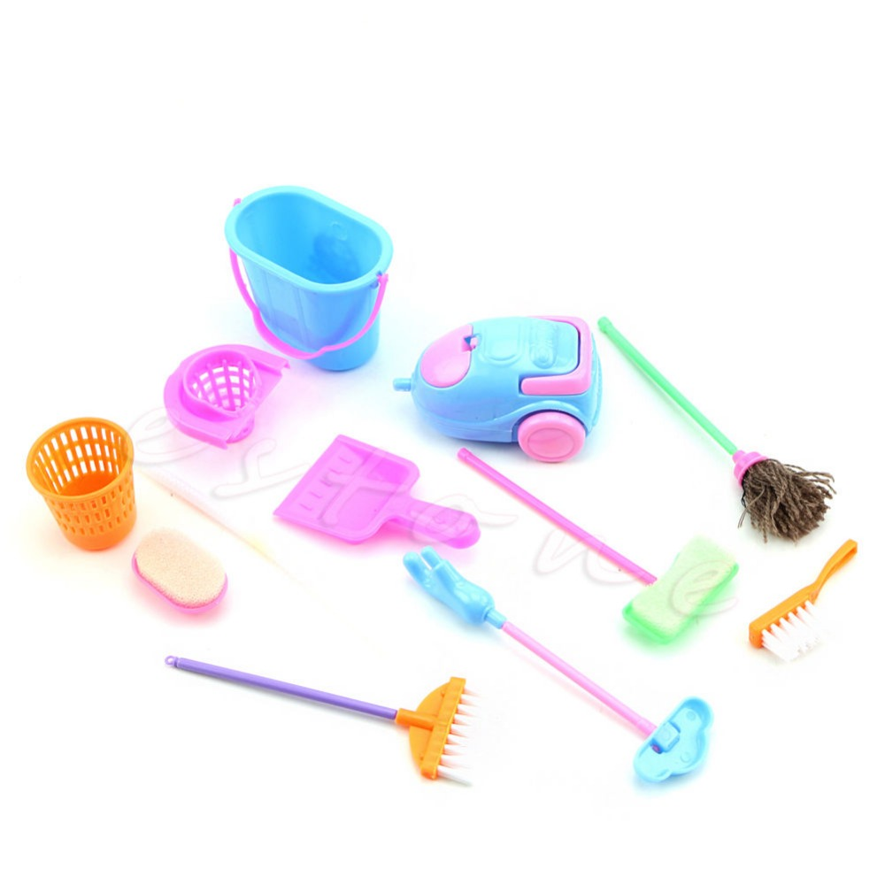9Pcs/Set Home Furniture Furnishing Cleaning Cleaner Kit For Barbie Doll House Sep25 Drop Ship