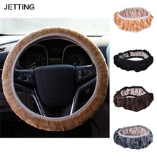 JETTING Luxe DIY Lange Pluche Warm Bont Auto Steering Cover Wollen Handrem Winter Auto Accessoire(China)