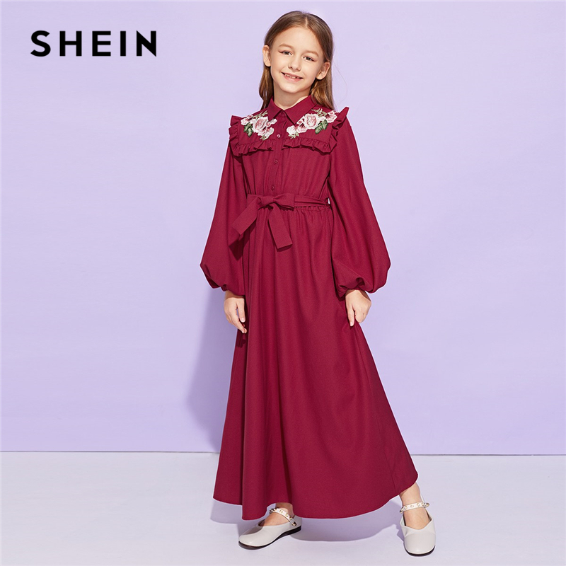 SHEIN Girls Burgundy Frill Trim Appliques Belted Cute Dress Kids Clothes 2019 Spring Long Sleeve A Line Button Casual Long Dress self belted button up plaid print dress