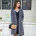 Novo 2017 Primavera e Outono Blusas e casacos de lã Feminino casaco de lã 100% das mulheres Turn-down Collar Cardigan Sweater