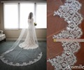 2016 Custom 3 M  Bridal Veils velo de novia Lace Edge Purfles Long Ivory Cathedral Wedding Veils Bridal Mantilla Free Comb