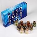 Assorted 9 pçs/set Mini Garrafas de rolha de Madeira Chip de Pedra NATURAL Sz Cristal Tombado Pedras de Cura Reiki Wicca