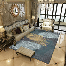 Feather pattern Rectangle carpet Luxury European style bedroom rug Modern simple short velvet print Carpets Computer chair Mats