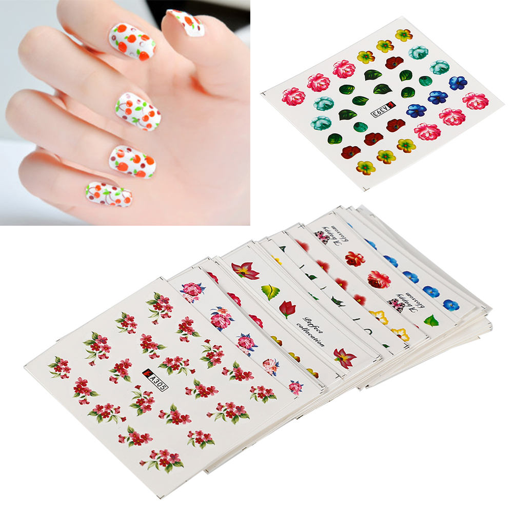 ELECOOL 50PCs Nail Stickers Little Flower Design Water Transfer Decals DIY nail art stickers for nails 30 pcs floral design manicure transfer nail art tips stickers decals 3d flowers beauty tickers for nails
