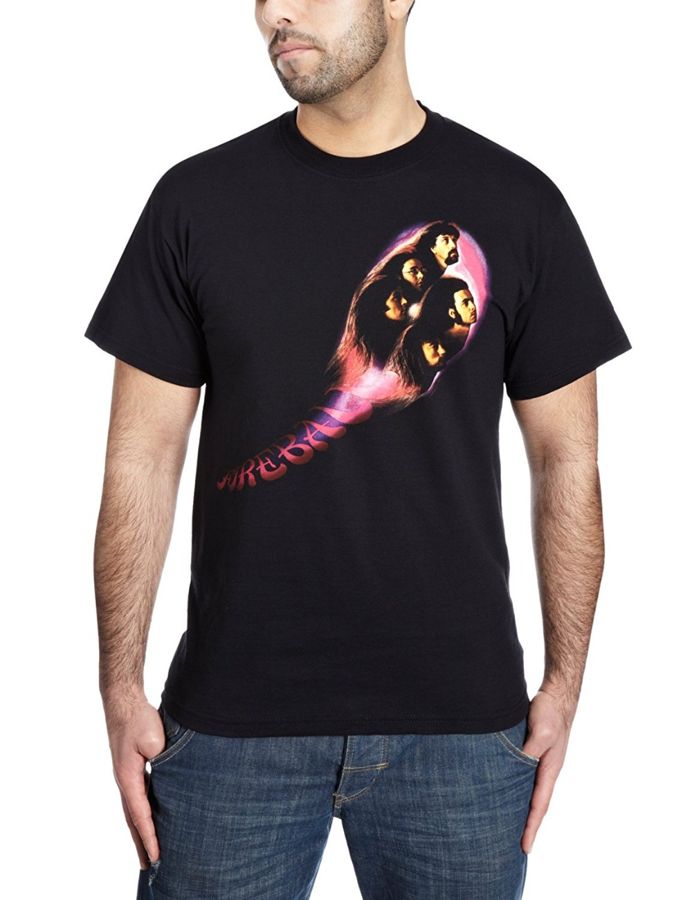 Short Sleeve Cotton T Shirts Man Clothing Deep Purple Fireball Official Mens T-Shirt Printed Pure Cotton Mens