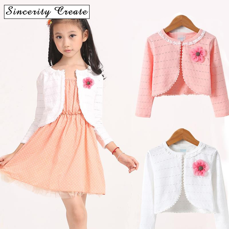 ACSUSS Toddler Kids Girls Long Sleeves Floral Lace Bolero Shrug Wedding Pageant Flower Dress Cover Up Short Cardigan