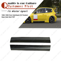 Car Accessories FRP Fiber Glass PDM Style Side Skirts Fit For 1992 1995 Civic Hatchback EG Body Kit Side Skirt Cover