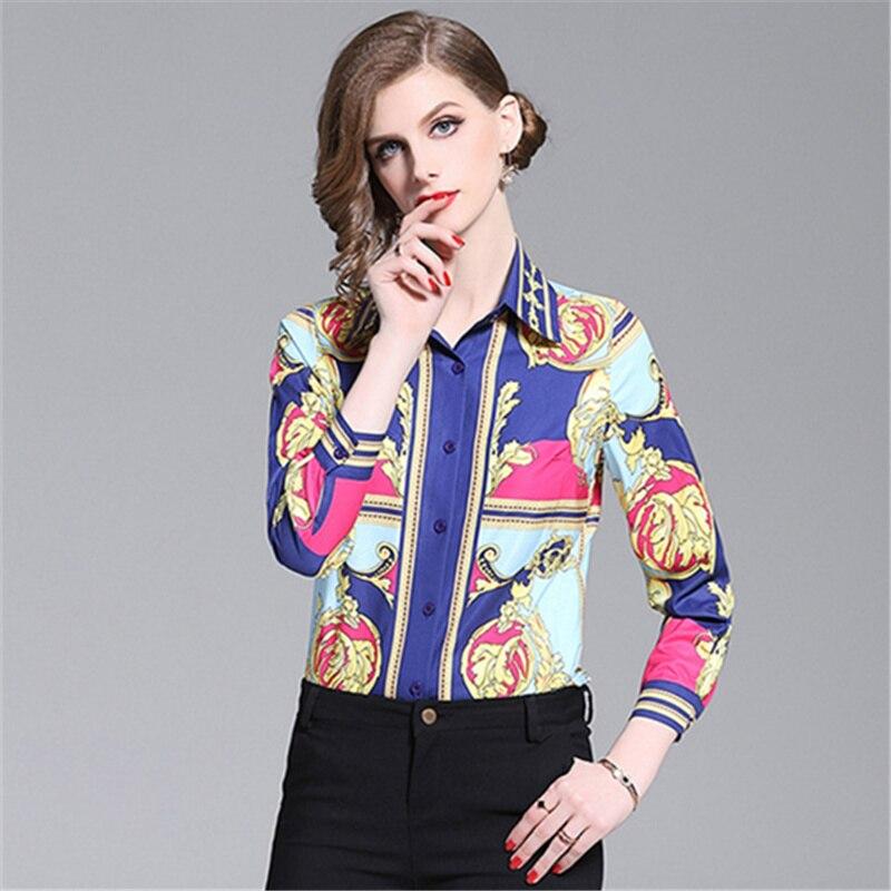 Women Retro   Blouse   2019 Summer Long Sleeve Print Elegant Tops Ladies Office Runway   Blouses     Shirts   camisas mujer blusa feminina