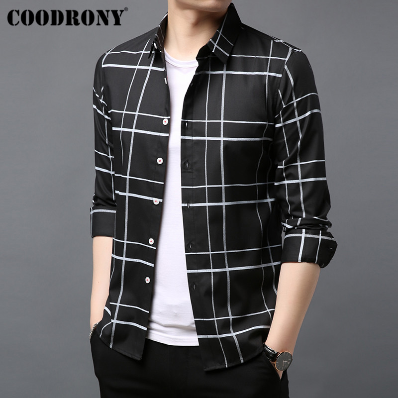 COODRONY Brand Men Shirt Cotton Shirt Men Autumn New Streetwear Fashion Striped Casual Shirts Long Sleeve Camisa Masculina 96045