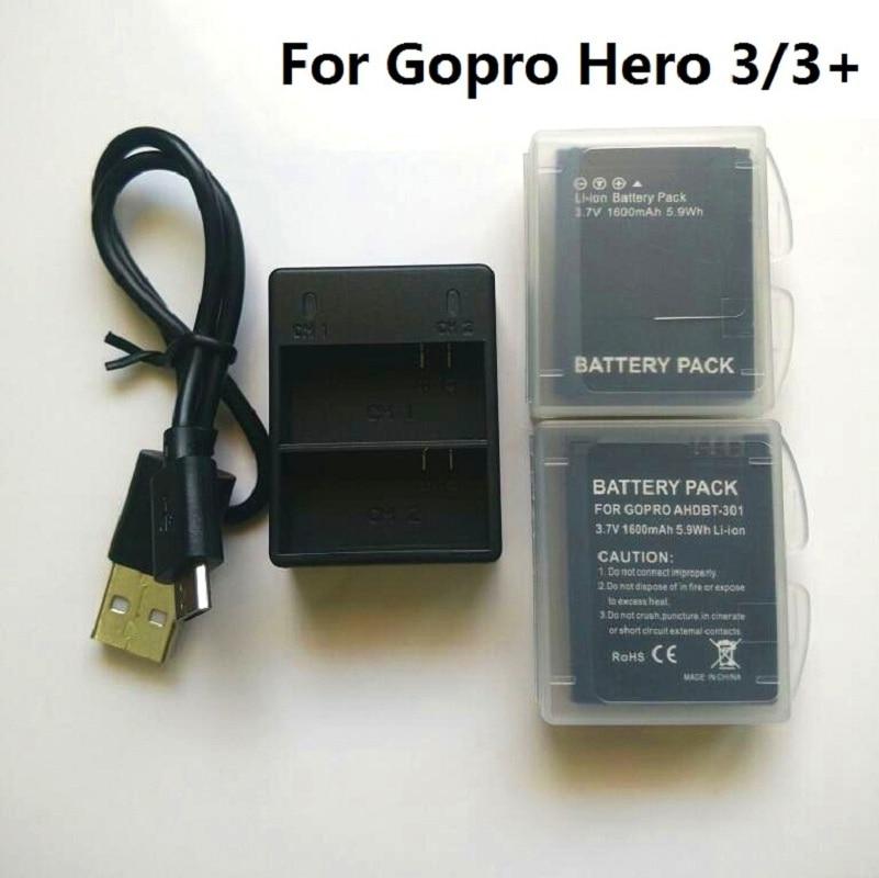 Para Gopro héroe 3 de la batería de 3,7 V AHDBT-301 Hero3 batería Dual USB cargador de batería para GOPRO 3 + 302 accesorios para cámaras de acción