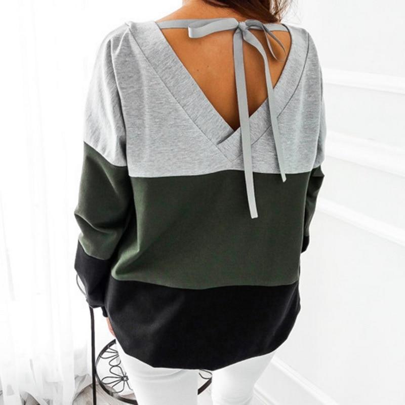 NIBESSER 2018 Spring Striped Sweatshirt Women Long Sleeve Loose Female Sweatshirt Casual Lace-up Hoodie Sweatshirt For Women
