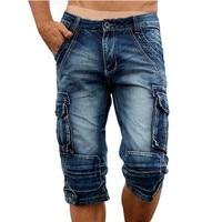 Idopy Casual Men S Cargo Denim Shorts Retro Vintage Washed Slim Fit Jean Shorts Mulit Pockets