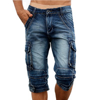 Idopy Casual Men S Cargo Denim Shorts Retro Vintage Washed Slim Fit Jean Shorts Mulit Pockets