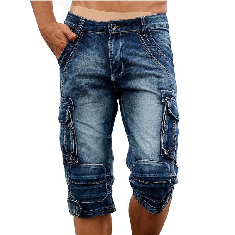 Idopy Повседневное Для мужчин грузов Джинсовые шорты Ретро Винтаж мыть Slim Fit джинсовые шорты mulit-карманы Военная Униформа Байкер Шорты для женщин для Для мужчин
