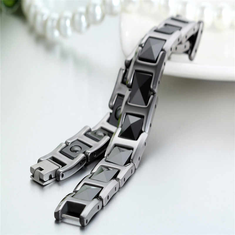 Moda fajna czarna ceramiczna bransoletka zdrowie energia z kamień magnetyczny łańcuch wolframu bransoletki dla mężczyzn prezenty na boże narodzenie