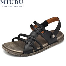 цены MIUBU Designer Slippers Casual Flat Mens Sandals Summer Outdoor Black Beach Shoes Slides Toe Loop Men Soft Strap Leather Fashion