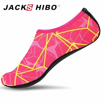 JACKSHIBO Summer Water Shoes for Women Big Plus Size Aqua Beach Shoes Woman Striped Colorful Sea Swimming Shoes zapatos de mujer 1