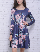 Blooming Jelly Women Elegant Vintage Autumn Dress Floral Print Dress Long Sleeve Office Casual Party A