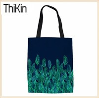 THIKIN-Green-Watercolor-Leaves-on-Navy-border-Canvas-Tote-Bag-Handmade-Women-Travel-Folding-long-Shoulder
