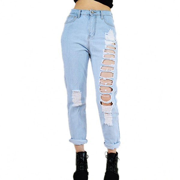 fringe boyfriend jeans for women sexy loose ripped destroyed jeans pants femme high waist light blue denim trousers 2016 loose cross pants boyfriend destroyed jeans baggy pants high quality ninth pants ripped hole saggy pants hip hop jeans