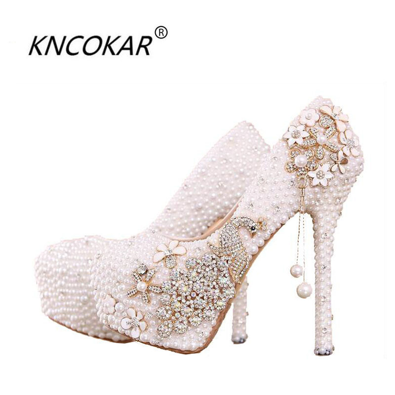 White pearl bride shoes with high heels waterproof non-slip bottom sealed phoenix set auger comfortable wedding shoesWhite pearl bride shoes with high heels waterproof non-slip bottom sealed phoenix set auger comfortable wedding shoes
