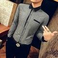 C468 Otoño Nueva Camisa Casual Vestido de Los Hombres Camisas de Manga Larga 2016 M-5XL Camisas de Vestir Para Hombre Chemise Homme Camisa Masculina Sociales