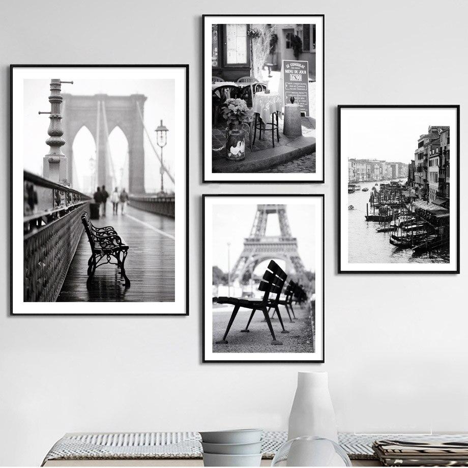 Colorfulboy Paris Gebäude Landschaft Wand Kunst Leinwand Malerei Schwarz Weiß Poster Und Drucke Wand Bilder Für Wohnzimmer Decor Haus & Garten