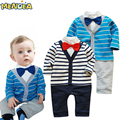 The spring and Spring period and the latest 2017 male baby cotton gentleman bow tie long-sleeved dress cute Rompers