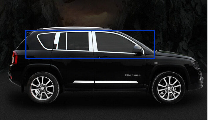 full window trims with center pillar window trim for Jeep compass 2011 2012 2013 2014 2015 stainless steel full window with center pillar decoration trim car accessories for hyundai ix35 2013 2014 2015 24