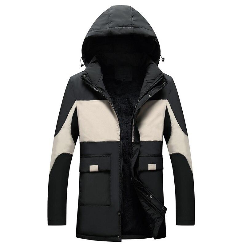 Hiver doudoune hommes à capuche mince épissure longue veste manteau hommes coupe-vent Parkas coton remplissage jeunesse vêtements Parka Hombre