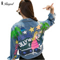 New Denim Jacket Women Ripped Hole Design Letter Printing All-match Short Jeans Jackets Women's Long Sleeve Outerwear Basic Coat
