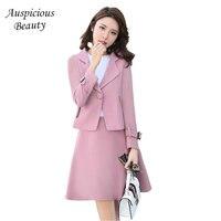 Womens Sets Single Breasted Woolen Coat Two Piece Set High Waist A Line Skirt Long Sleeve