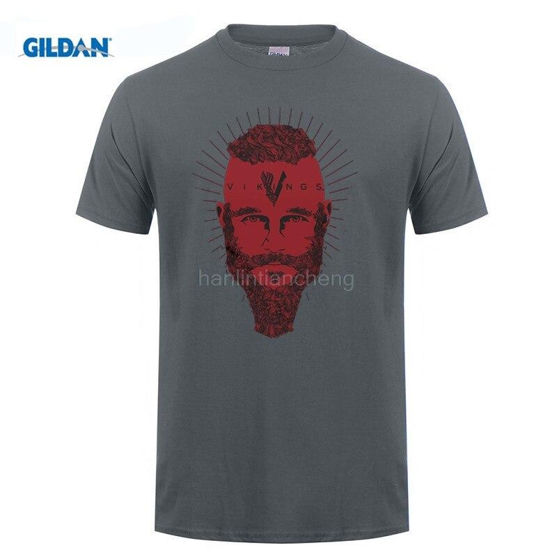 GILDAN MenS Summer Cute Vikings Ragnar Face T Shirt Tv Series History Channel Fan Merchandise Printed T Shirt Fashion Tees
