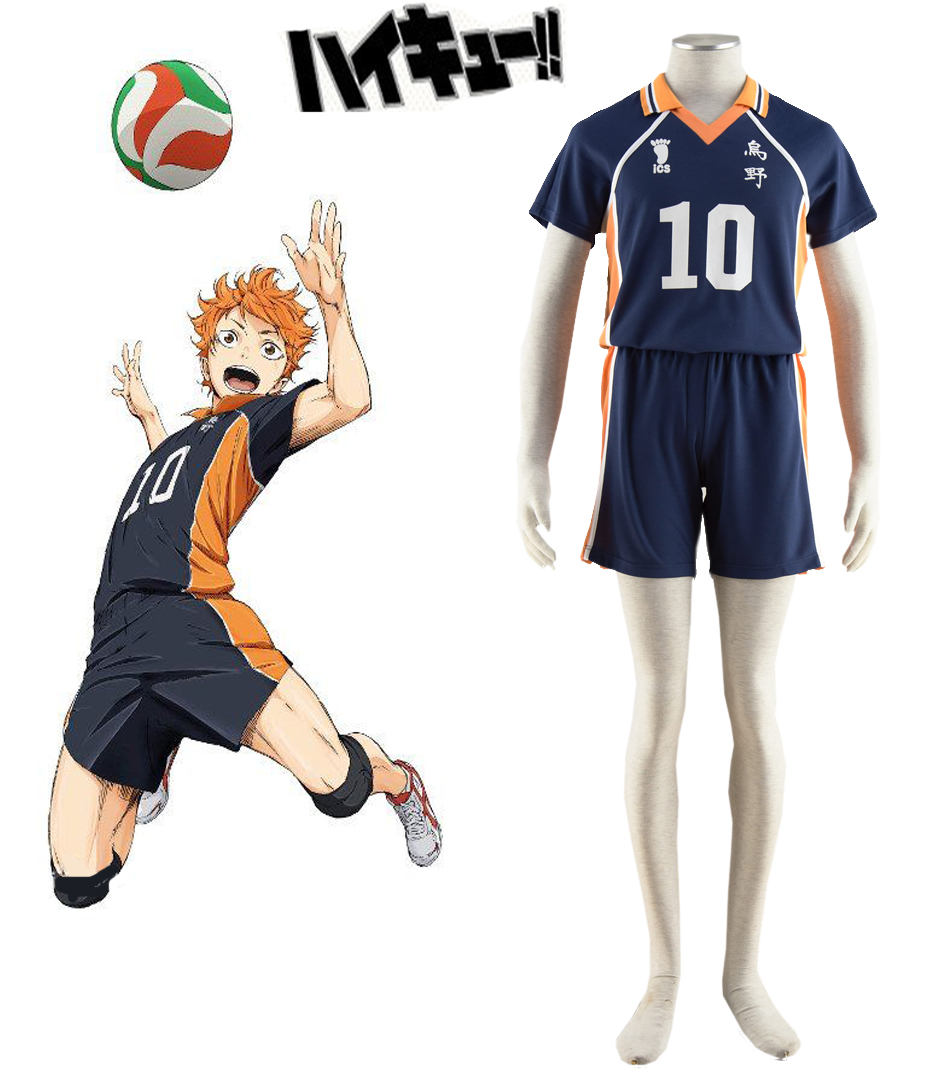 Free Shipping Haikyu!! Shoyo Hinata Karasuno High School Volleyball Team Uniform Number10 Anime Cosplay Costume