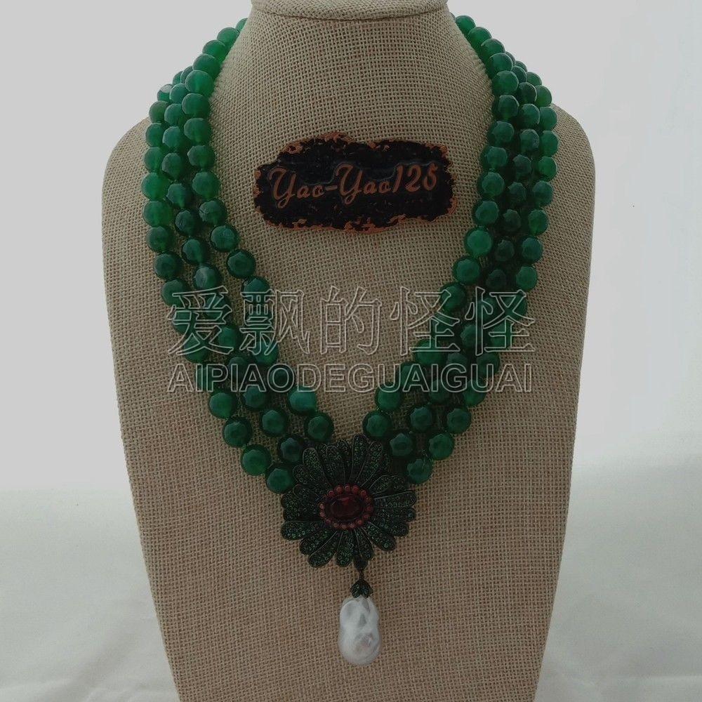 19/'/' 2 Rows Black Pearl Necklace CZ Keshi Pearl Pendant