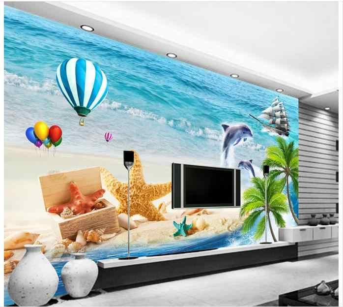 מותאם אישית 3d טפט לקירות 3 d קיר ציורי קיר טפט אי קוקוס הים התיכון טלוויזיה ספת רקע קיר קיר סלון