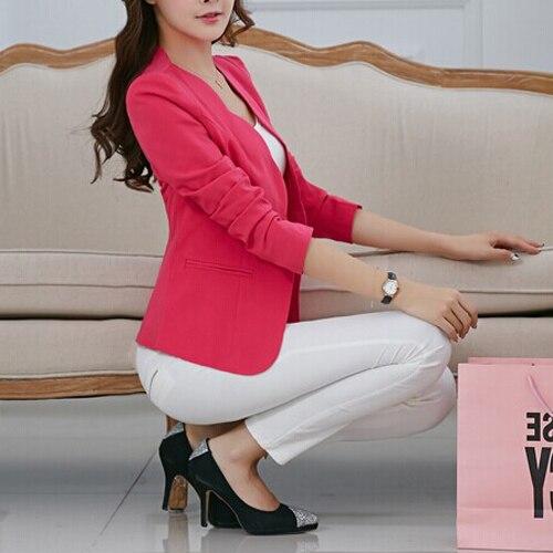 Newest Autumn casual jackets women slim short design suit jackets office women coat clothing -Rosy,M