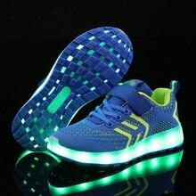 Теплый как дома 2018 Новый 25-37 USB зарядное устройство светящиеся кроссовки светодио дный дети освещение обувь для мальчиков/девочек с подсветкой светящиеся кроссовки
