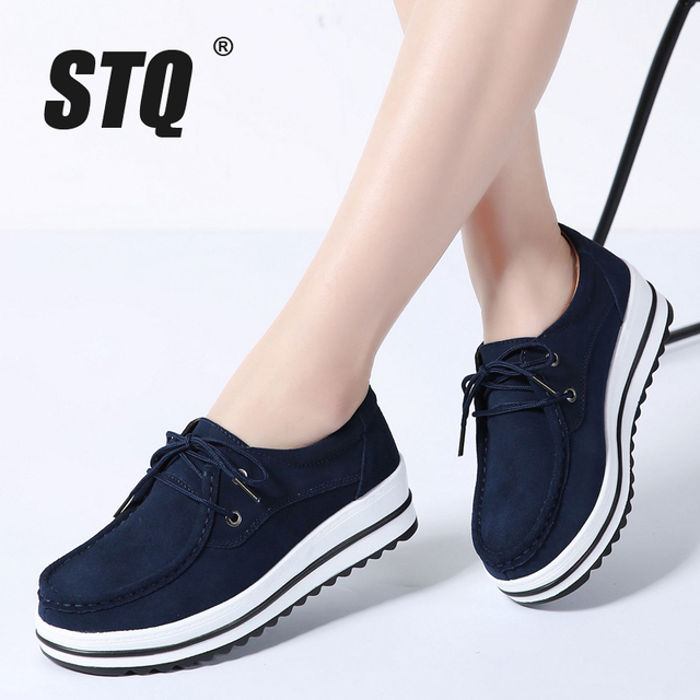 STQ 2020 Autumn Women Flats Female Leather Suede Platform Sneakers Shoes Women Lace Up Casual Flat Creepers Moccasins Shoes 526