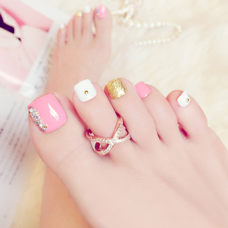 24pcs/set Nail art Japan and South Korea fashion pink toenails of ...