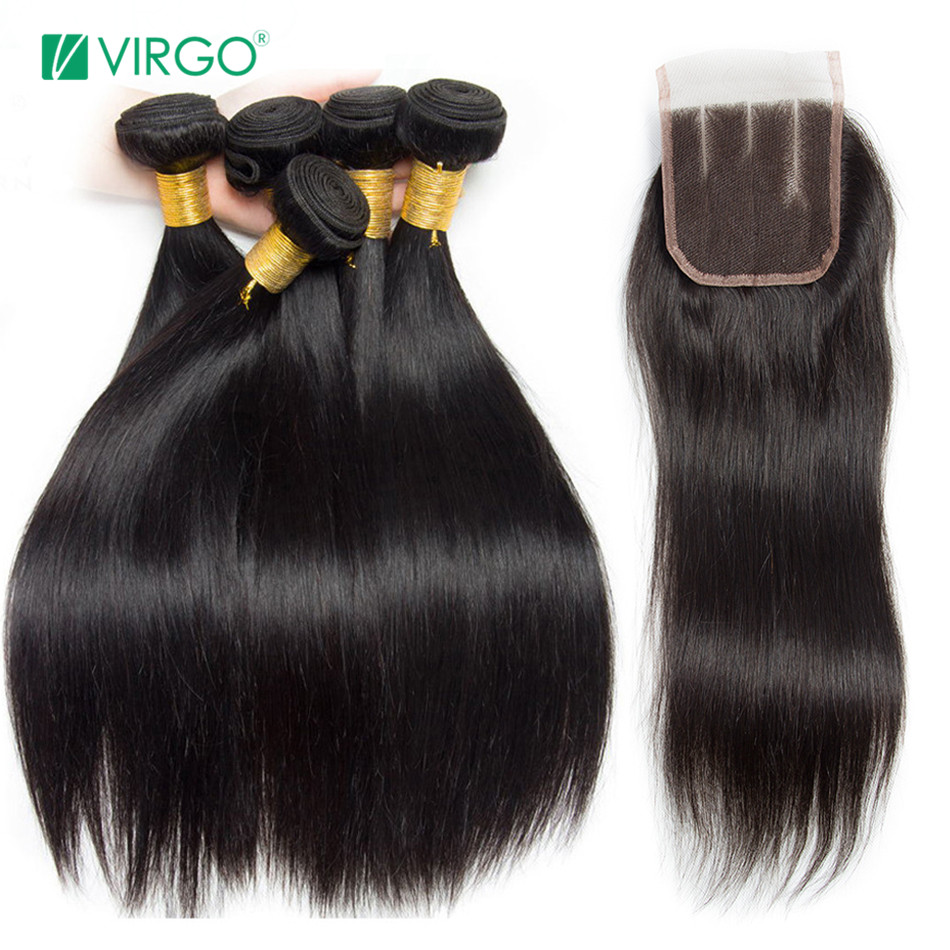 Human-Hair-Bundles Closure Virgo Hair Straight Peruvian With Non-Remy Middle-Part Deal