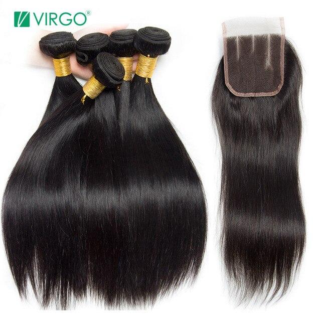 פרואני ישר שיער טבעי חבילות עם סגירת 3 חבילות להתמודד עם סגירת 4 יח'\חבילה מזל בתולה שיער חבילות ללא רמי אמצע חלק