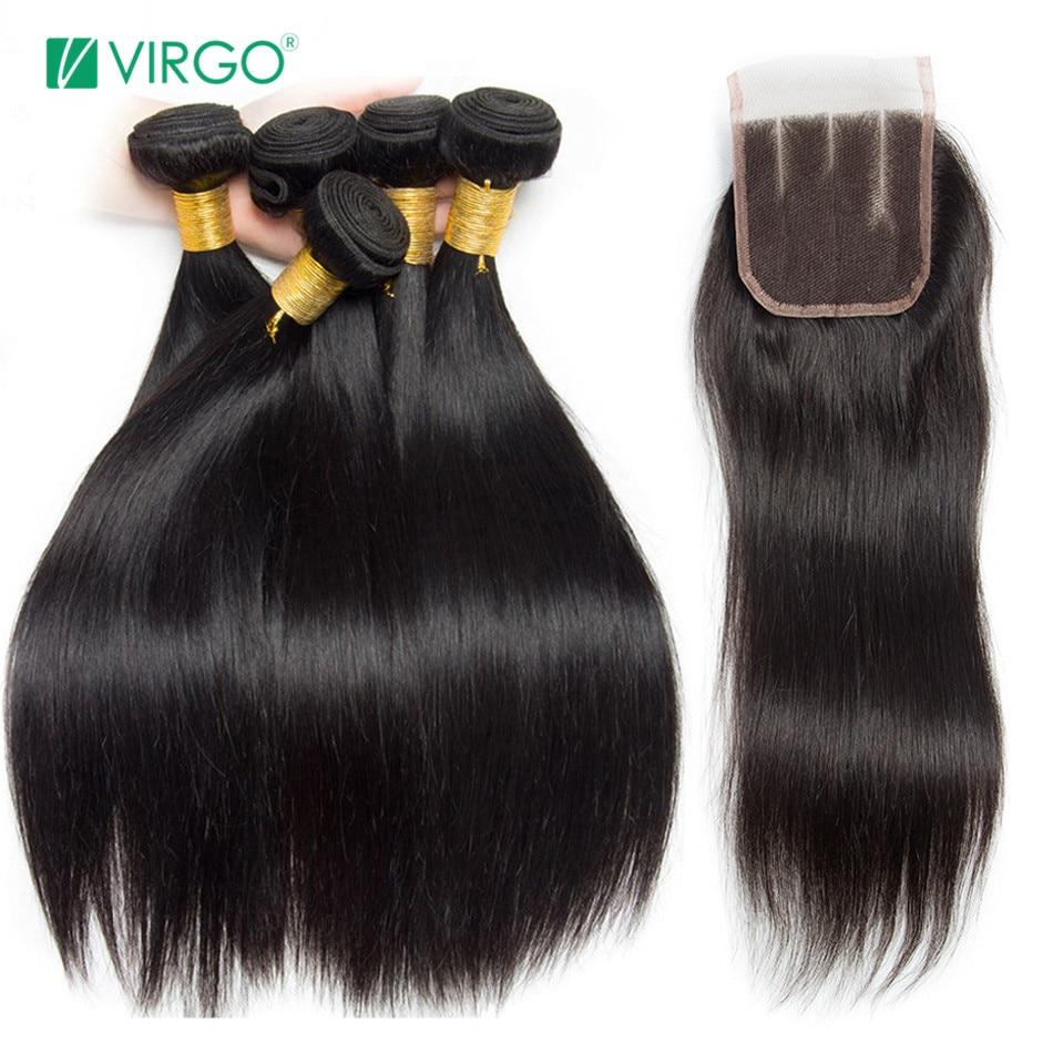 Peruano pelo humano recto paquetes con cierre 3 paquetes de trato con cierre 4 unids/lote Virgo paquetes de pelo no Remy medio parte