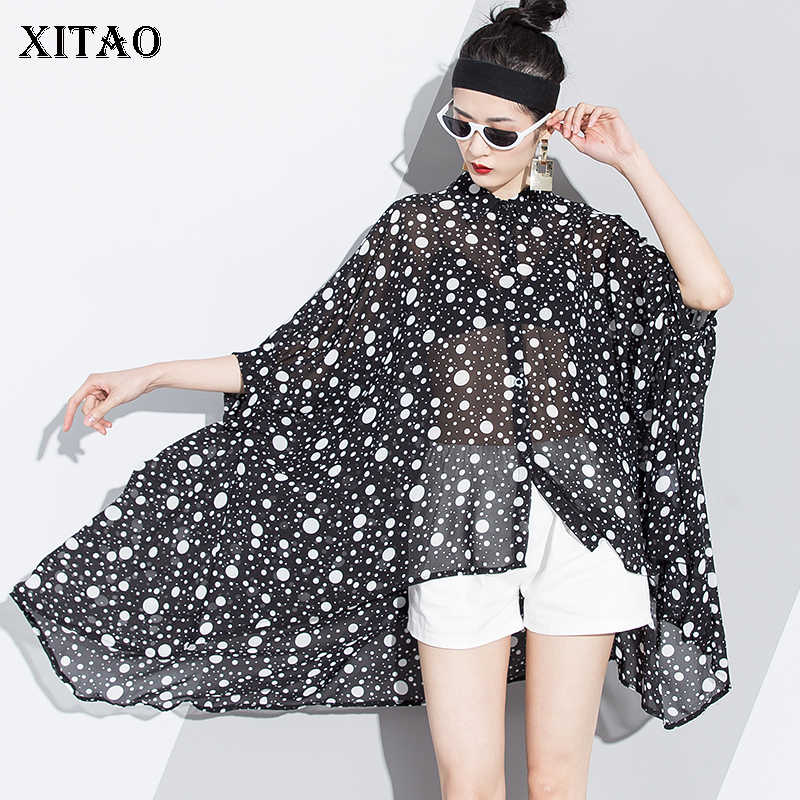 XITAO Perspective Polka Dot Blouse Korea Fashion Turn Down Collar Patchwork Hollow Out Chiffon Temperament Ruffle LJT1386