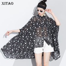 XITAO Perspective Polka Dot Blouse Korea Fashion Turn Down Collar Patchwork Hollow Out Chiffon Temperament Ruffle LJT1386
