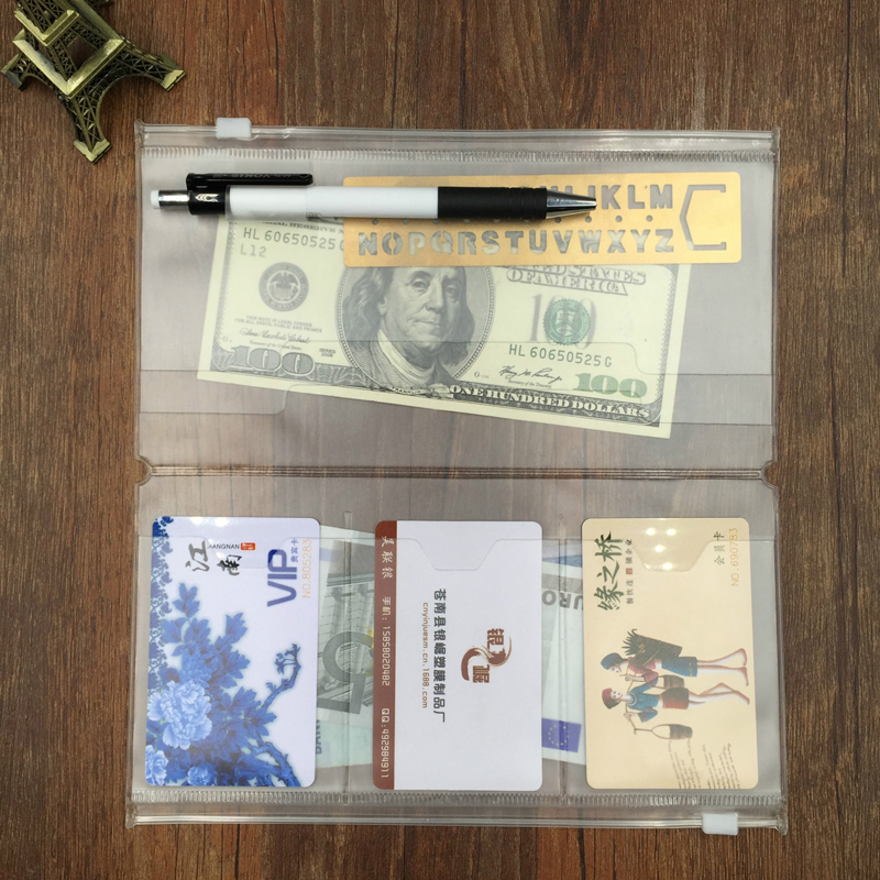 PVC Zipper Bag Organizer Holder For Travel Notebook Diary Journal Accessory Tickets Cards Storage