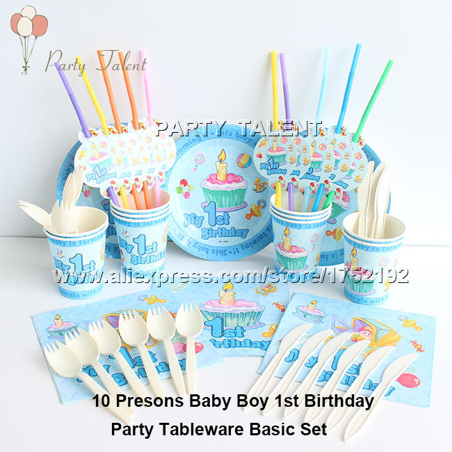 <font><b>Party</b></font> supplies 60PCS for 10person baby boy 1st birthday blue theme <font><b>party</b></font> decoration one-time tableware basic set, plate <font><b>cup</b></font> ect.