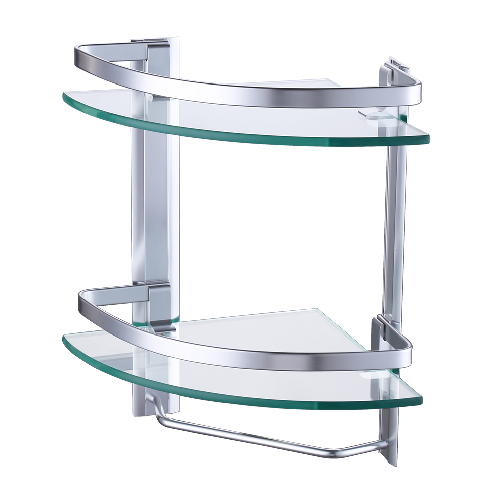 Buy kes a4123b aluminum bathroom 2 tier - Bathroom glass corner shelves shower ...