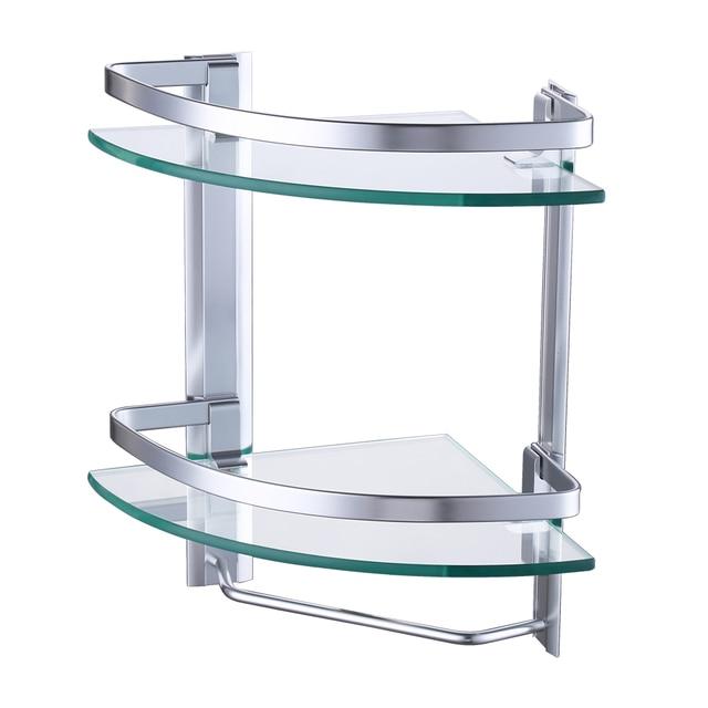 Kes A4123b Aluminum Bathroom 2 Tier Glass Corner Shelf With Towel Bar Wall Mounted Silver Sand