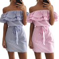 Missufe 2017 Slash Neck Ruffled Sexy Women's Dress Vestidos Ukraine Striped Robe Canonicals Belt Casual Summer Dresses For Women